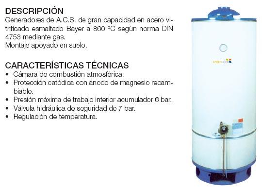 Generador de A.C.S. mediante gas, atmosférico, gran capacidad